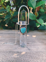 Sterling Silver Classic 5ml - Clear Quartz and Hachita Turquoise Rollerball Necklace
