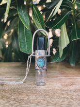 Load image into Gallery viewer, Sterling Silver Classic - Obsidian + Sleeping Beauty Turquoise Rollerball Necklace