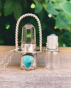 Clear Quartz and Candelaria Turquoise Rollerball Necklace