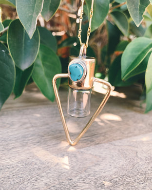 Brass Water Element - Sleeping Beauty Turquoise Rollerball Necklace