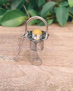 Sterling Silver Daisy - Yellow Topaz Rollerball Necklace