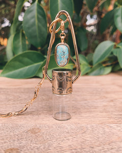 Brass Charm - Turquoise Rollerball Necklace