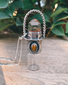Sterling Silver Classic - Amphibole Quartz and Tiger's Eye Rollerball Necklace