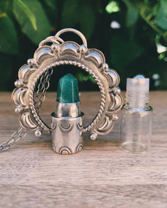 La Luna - Green Aventurine and Sterling Silver Rollerball Necklace