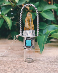 Classic - Limonite, Candelaria Turquoise, and Sterling Silver Rollerball Necklace