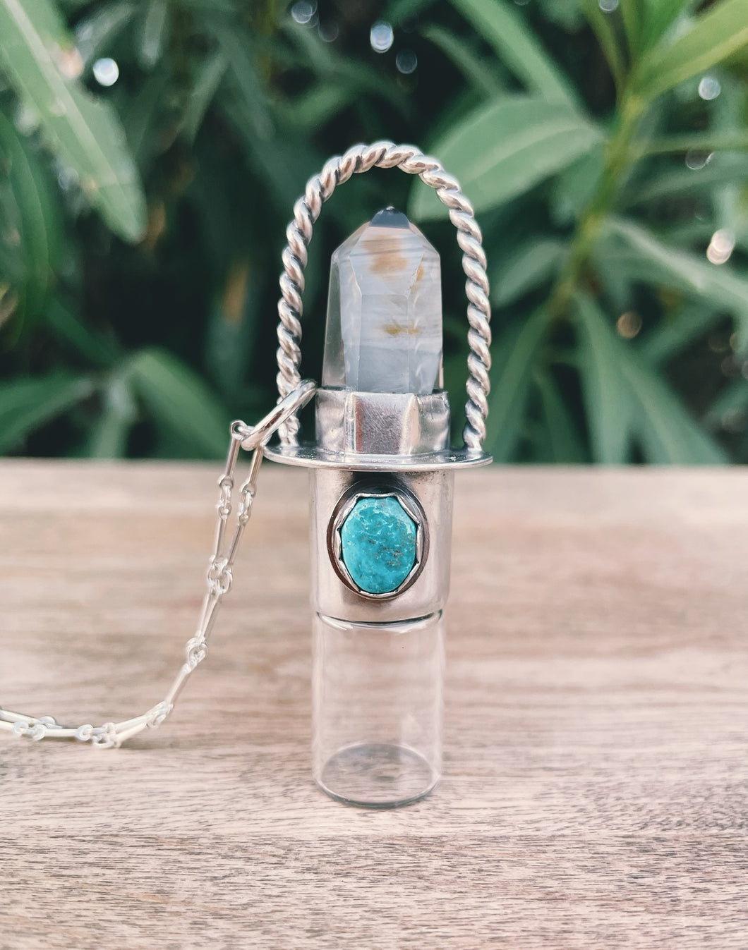 Sterling Silver Twist Classic - Amphibole Quartz + Bisbee Turquoise Rollerball Necklace