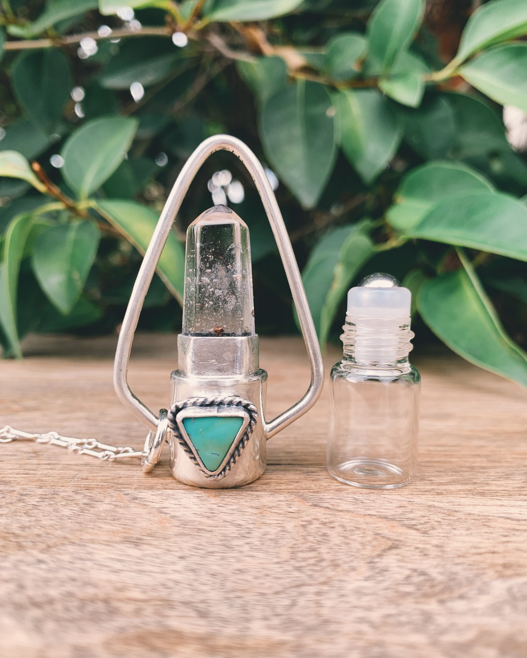 Geometric - Morenci Turquoise, Clear Quartz and Sterling Silver Rollerball Necklace