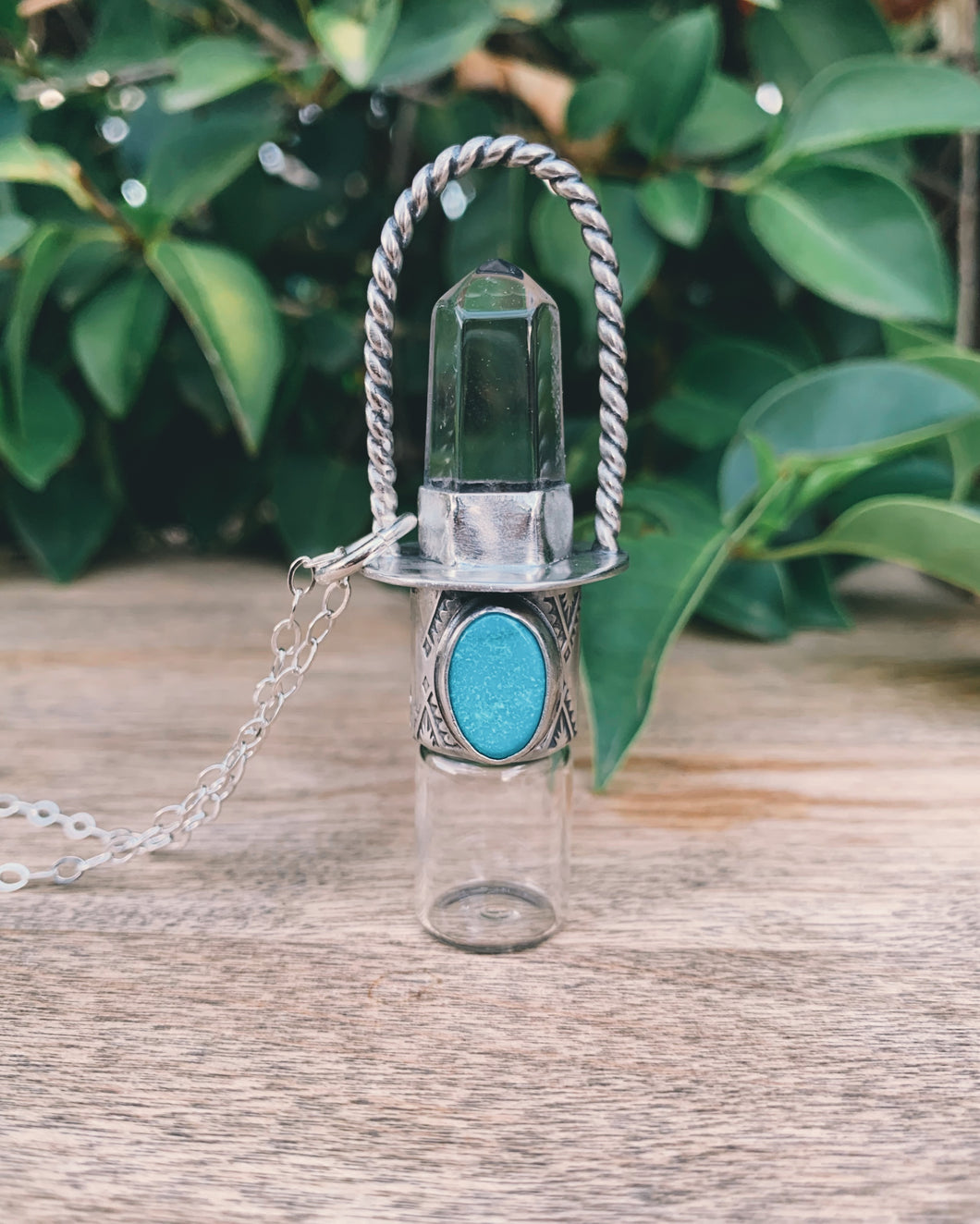 Classic - Clear Quartz and Sleeping Beauty Turquoise Rollerball Necklace