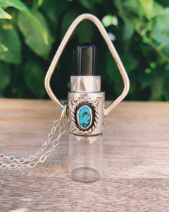 Geometric- Obsidian and Sleeping Beauty Turquoise Rollerball Necklace