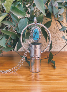 Sterling Silver Horizon Floater - Sleeping Beauty Turquoise Rollerball Necklace