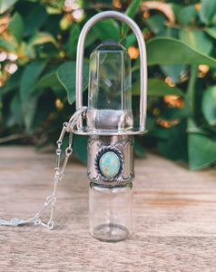Classic - Clear Quartz, Sleeping Beauty Turquoise and Sterling Silver Rollerball Necklace