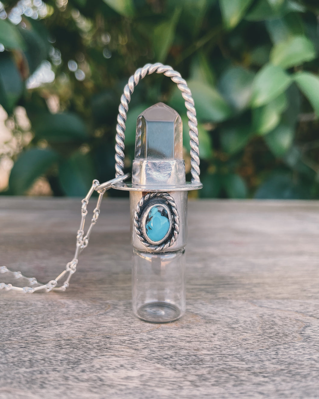 Sterling Silver Twist Classic - Clear Quartz + Sleeping Beauty Turquoise Rollerball Necklace