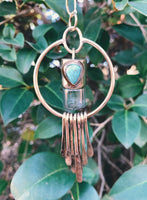 Oleum Dream Catcher - Candelaria Turquoise and Brass Rollerball Necklace