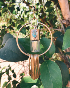Brass Oleum Dream Catcher - Morenci Turquoise Rollerball Necklace