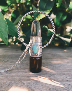 Sterling Silver Twisted Horizon - Clear Quartz + Morenci Turquoise Rollerball Necklace