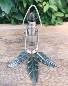 Leafy Fringe Amethyst and Sterling Silver Rollerball Necklace