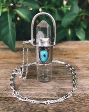 Load image into Gallery viewer, Classic - Clear Quartz and Sleeping Beauty Rollerball Necklace