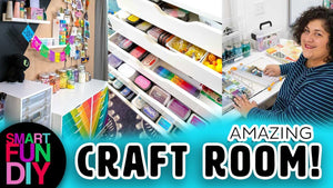 Take a look inside my craft room + home office + YouTube studio to get ideas for organizing and storing craft supplies
