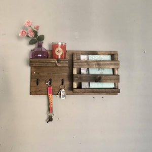 Entryway Mail Organizer | Key Hooks Coat Rack Catch All Leash Holder Rustic Modern Unique by DistressedMeNot