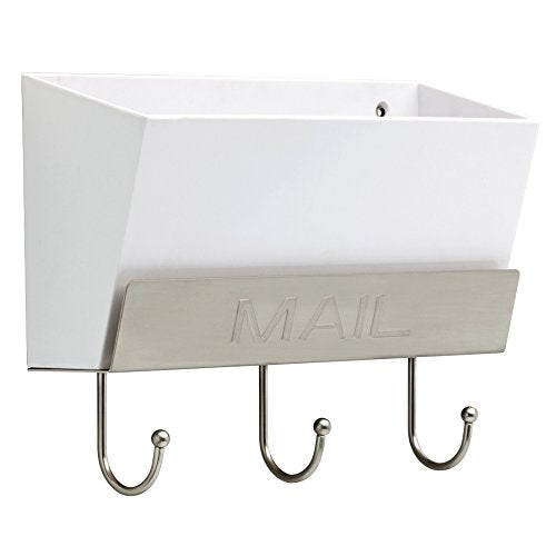 LIBERTY MAILHLD-WSN-R Classic Mail Holder with 3 Hooks, 10