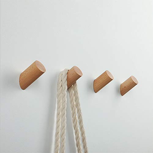 2Pcs Natural Wooden Coat Hooks, Wall Mounted Single Wall Hook Rack, Decorative Craft Clothes Hooks (Beech Wood, 6CM)