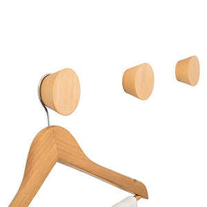 JINMURY 2 Pack Natural Wooden Coat Hooks, Germany Beech Wood Wall Mounted Single Decorative Wall Hooks, Handcrafted Clothes Hooks Hat Rack (AAA Grade)