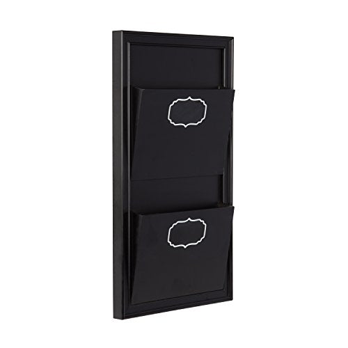 DesignOvation Walcott Decorative Wall Organizer Mail Holder with Two Pockets