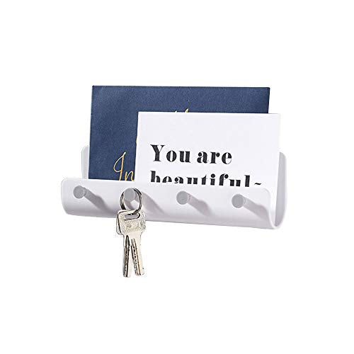 Mail, Letter & Key Holder, Self-Adhesive Key Rack Organizer Wall Mounted for Hanging in Entryway, Kitchen, Garage, Mudrooms - White