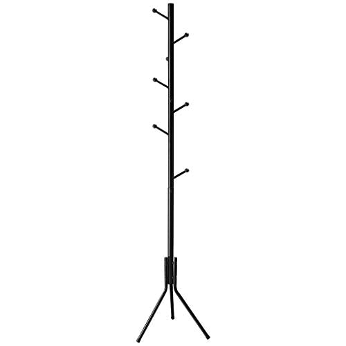LANGRIA Free Standing Coat Rack with 8 Hooks, Solid Sturdy Metal Coat and Hat Rack Organizer with Tree-Like Design for Hanging Clothes Jackets, Hats, Handbags in Office Home, 17x70 Inches (Black)