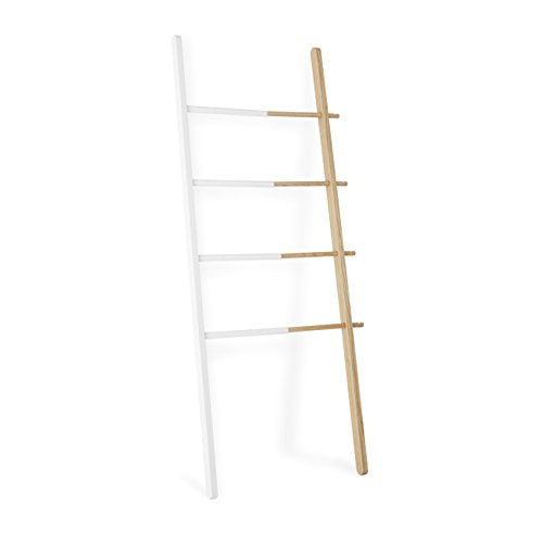Umbra Hub Ladder – Adjustable Clothing Rack for Bedroom or Freestanding Towel Rack for Bathroom | Expands from 16 to 24 inches with 4 Notched Hooks, White/Natural