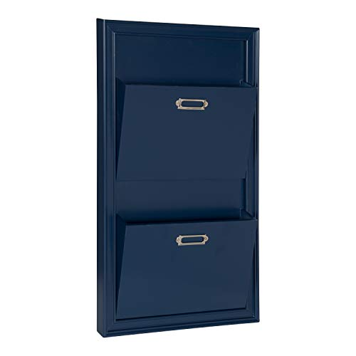 DesignOvation Walcott Decorative Wall Organizer Mail Holder with Two Pockets, Blue