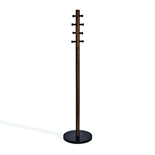 Umbra Pillar Coat Rack, Clothing Hanger, Umbrella Holder, and Hat Organizer, Great for Entryway, Black/Walnut