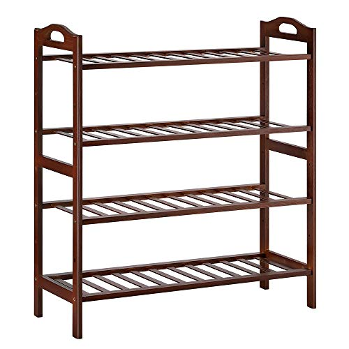 LIANTRAL Bamboo Shoe Rack 4-Tier Standing Storage Shoe Organized Holder Closets Entryway Shoe Shelf for Home & Office&Bathroom Included 4 PE Cushions Fits 12-16 Pairs of Shoes (Brown)