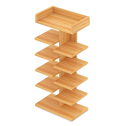Wood Shoe Rack, FOME 6 Tier Simple Modern Entryway Shoe Storage Tower Rack Shoe Stackable Shelf Shoe Rack Organizer Easy to Assemble Free Standing for Home Entryway Hallway Bathroom 35x9.5X 15.7in