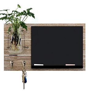 Round Rich Chalkboard with Mason Jar with 2 Key Hooks and 2 chalks for Wall - Rustic Wall Décor
