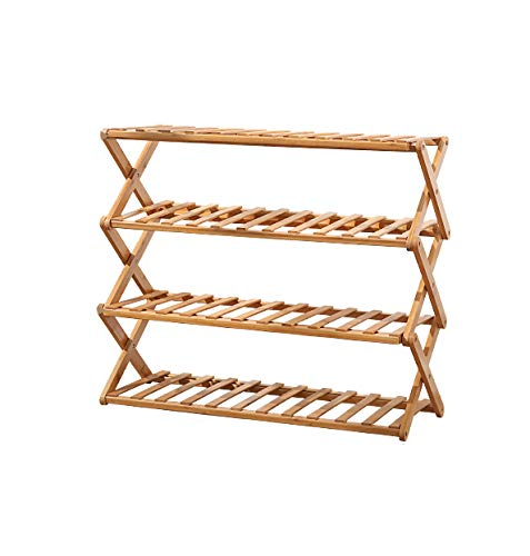 Rakumi Multi-Tier Foldable Bamboo Shoe Rack Multifunctional Free Standing Shoe Shelf Storage Organizer(4-Tier)