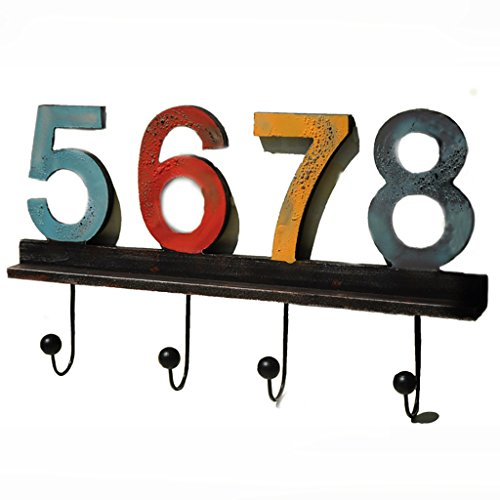 Digital Hook Hanger with 4 Hooks Decorative MDF Wall Hook Rack for Coats Hats Keys Towels Clothes (Size:23X40cm),5678