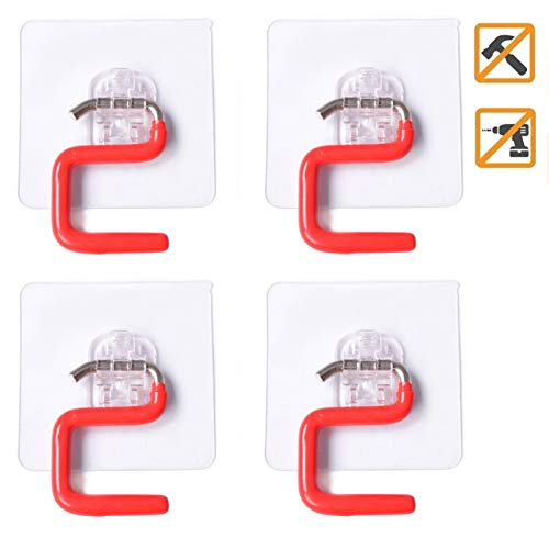 VaLaVie Mop Broom Holder Racks Self Adhesive No Drilling Hook Garage Storage Racks Organizer for Clean Tools (Red Adhesive Hook)
