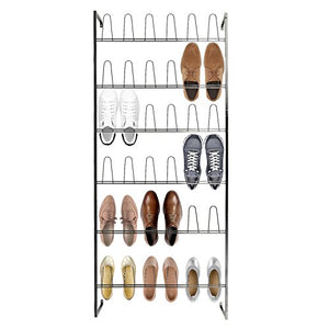 MyGift Wall Mounted Black Metal 36 Hook Shoe Rack / 18 Pair Entryway Shoe Storage Organizer Stand