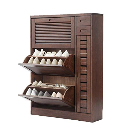 Shoe Racks Solid Wood Storage Shoe Rack Simple Modern Hall Cabinet Entrance Cabinet Shoe Cabinet Breathable Shoebox (Color : Walnut Color, Size : 3 Layers)