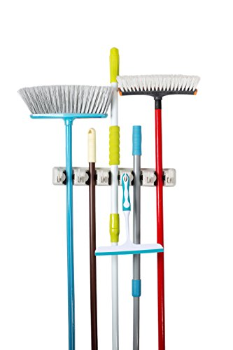 Saganizer Mop and broom Holder wall mount , 5 position broom organizer with 6 hooks