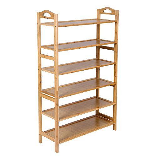SONGMICS Bamboo Wood Shoe Rack 6-Tier 18-24 Pairs Entryway Standing Shoe Shelf Storage Organizer for Kitchen Living Room Closet ULBS26N