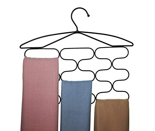 CAXXA 2 Pack Scarf Storage Organizer Rack - Hanging Scarf Holder for Closet, Bedroom Entryway, Mudroom - Belt, Ties, Yoga Pants, Leggings, Accessories, Snag-Free, 13 Sections