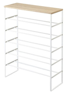 Modern Large Metal Tower Shoe Rack, Free Standing, Six Storage Shelves, Wooden Top Shelf, White, 34-inch