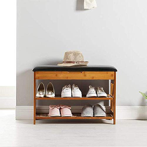 PLLP Household Wooden Shoe Rack, Shoe Cabinet, Shoe Storage Cabinet Wooden Ottoman Bench Removable Seat Cushion, Seat Holder Hallway Stand, Black ?L50W34H49Cm??Simple Home Door Shoe