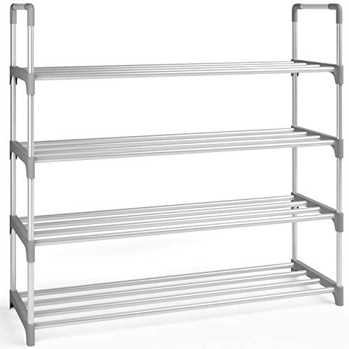Home Intuition 4-Tier Shoe Rack Organizer, Tower Shelf Storage, 20 Pairs, Grey