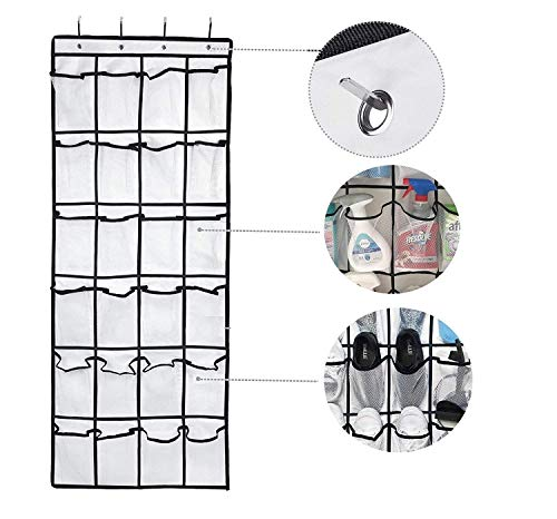 Over the Door Hanging Shoe Organizer, 24 Large Mesh Pockets Shoes Storage and Closet Organizer With 4 Unique Customized Strong Metal Hooks for Kitchen Accessory Holder - Space Saving Solution (White)