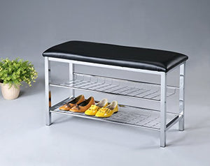 Roundhill Furniture Metal Shoe Bench with Faux Leather Seat, Chrome and Black