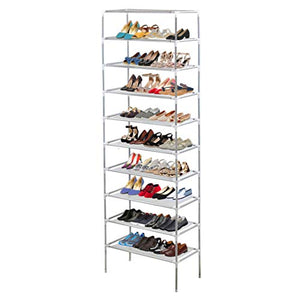 AMOS 10 Tier Extendable Shoe Rack 30 Pair Space Saving Storage Organiser with Waterproof Non-Woven Fabric Shelves, Grey
