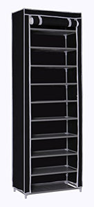 "MULSH Shoe Rack Shoe Storage Organizer 10-Tier Shoes Case Unit with Dustproof Non-Woven Fabric Cover 30 Pairs Shoe Tower Standing Storage Organizer in Black,24.2""W x 12.4"" D x 68.3""H (Black)"